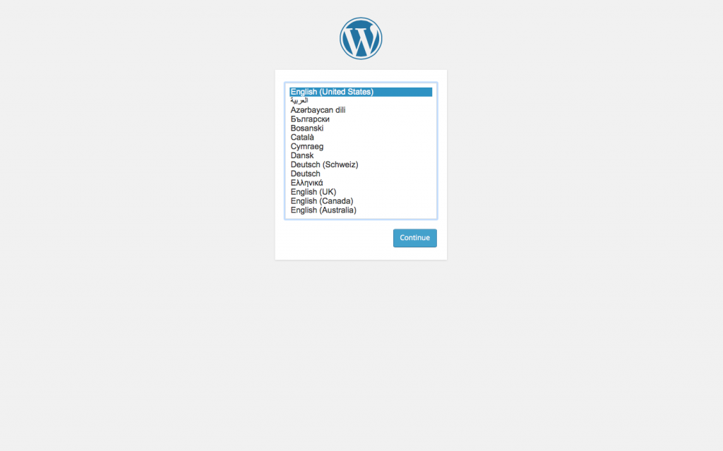 WordPress Install Page 1