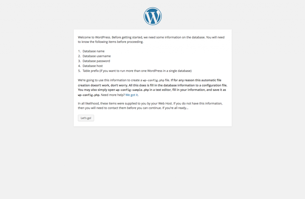 WordPress Install Page 2