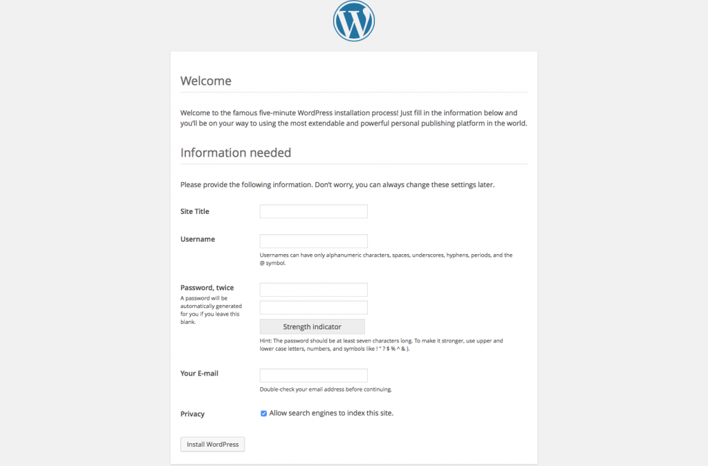 WordPress Install Page 4