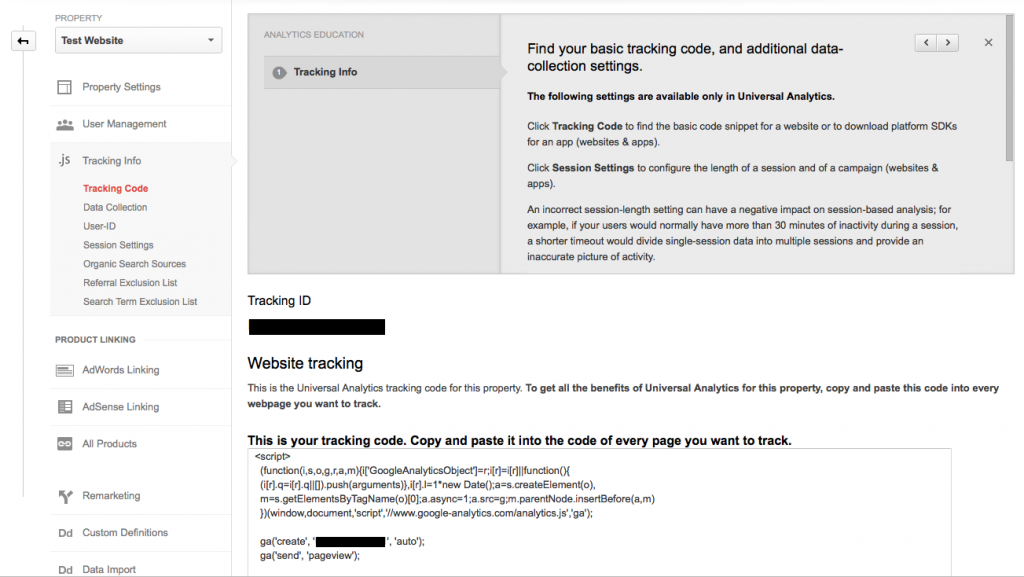 Google Analytics Tracking Info
