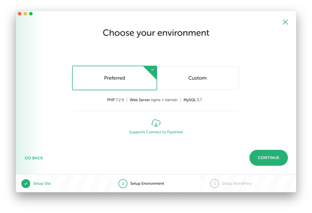 Local by Flywheel showing the environment screen of the second step when creating a site for local development