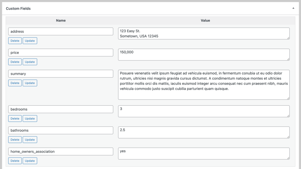 Custom fields set up with the values from the example