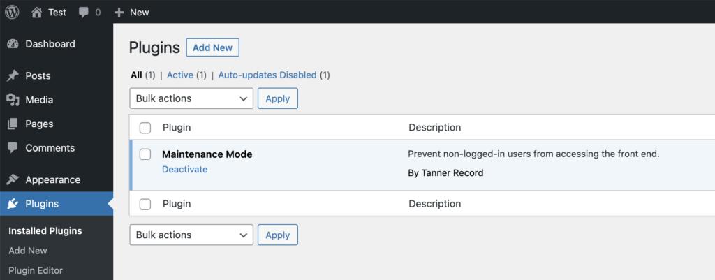 A micro plugin in the WordPress admin of a site